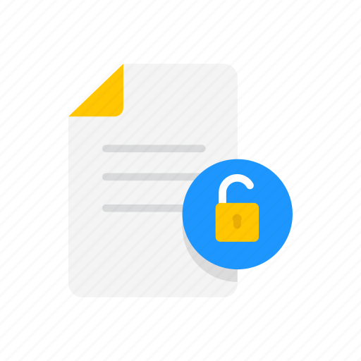 note, sheet, unlock file, unsecure file icon