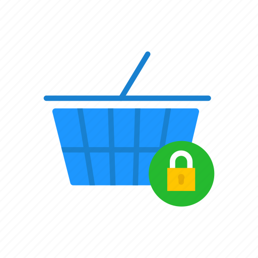 cart, locked cart, secure item, shopping icon