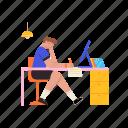 blogging, boy, desk, computer, work