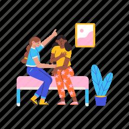 chat, gossip, friends, girls, sitting