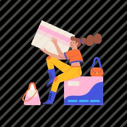 shopping, credit card, spend, spending, girl