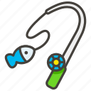 1f3a3, fishing, pole icon