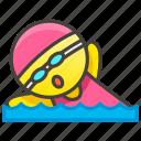 swimming, woman