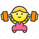 1f3cb, lifting, weights, woman icon