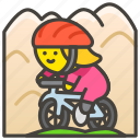 1f6b5, biking, mountain, woman
