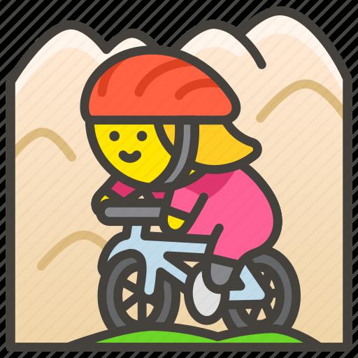 1f6b5, biking, mountain, woman icon