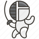1f93a, fencing, person icon