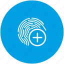 access, add, biometry, dactyl, data, finger, ok icon