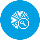 access, biometry, enter, finger, key icon