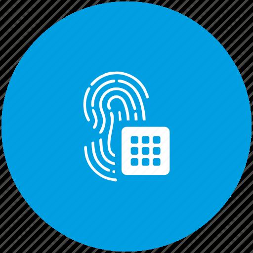 biometry, data, finger, password, pin icon
