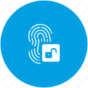 access, biometry, dactyl, finger, unlock icon