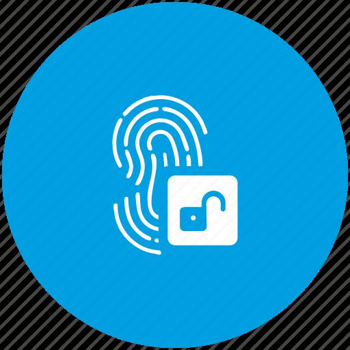 access, biometry, dactyl, finger, unlock icon