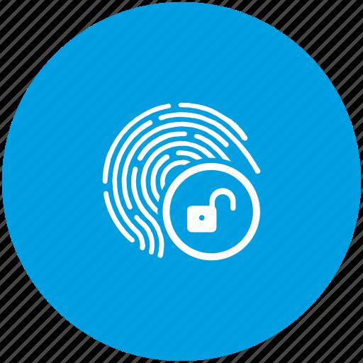 access, biometry, dactyl, data, finger, unlock icon