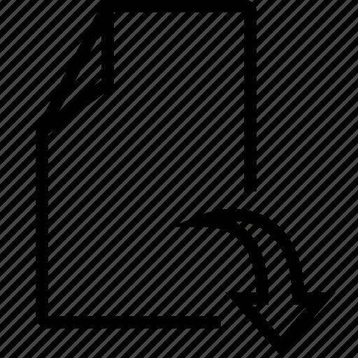 arrow, doc, down, file icon