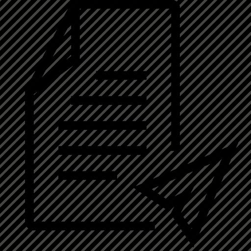 file, message, paper, plain, send, sent icon