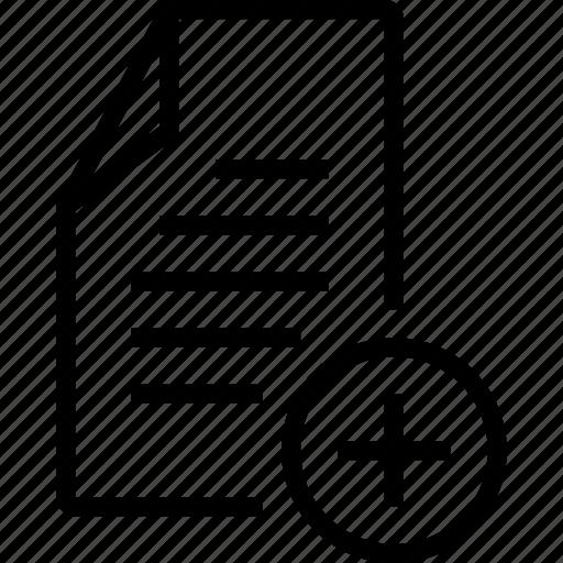 add, create, file, new, plus icon
