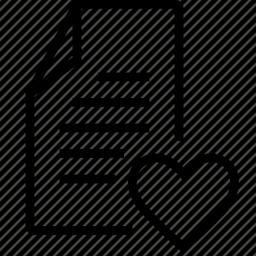 file, heart, like, lovely icon