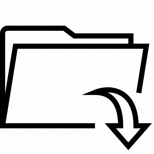 arrow, down, folder icon