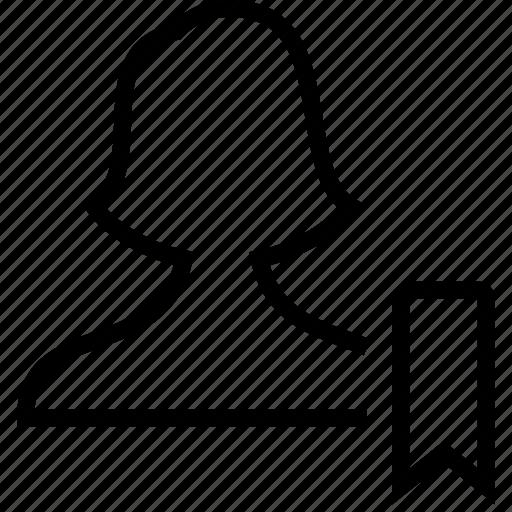 bookmark, female, user, users icon