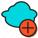 add, cloud, cloudy, hosting, internet, rain, server icon