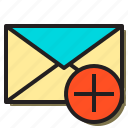add, communication, email, envelope, internet, letter, mobile icon