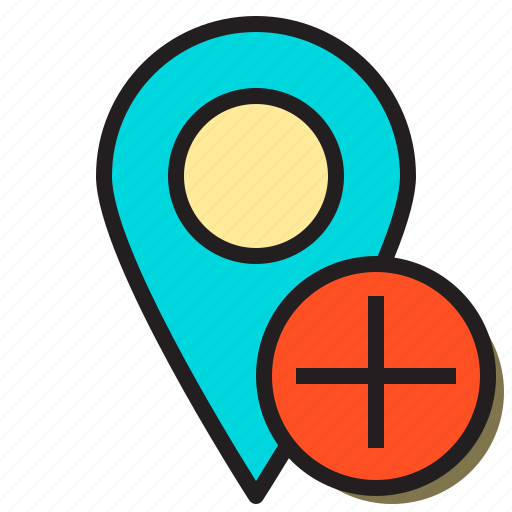 add, cart, direction, map, plus, pointer, position icon