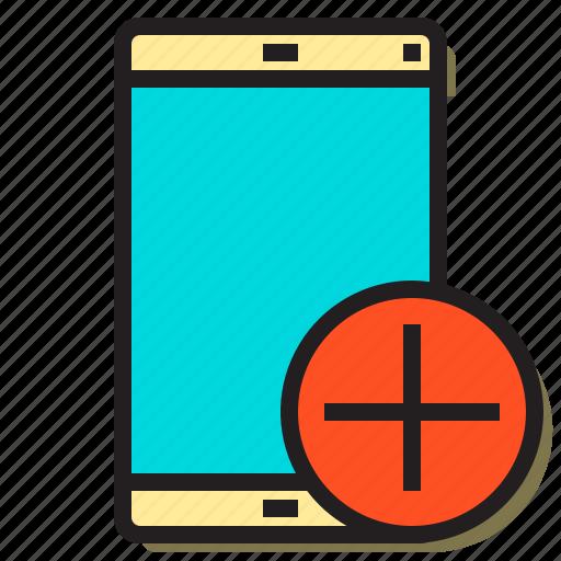 add, computer, device, man, plus, smartphone, user icon