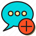 add, comment, conversation, create, people, talk, user icon