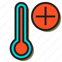 add, cart, cloudy, moon, temperature, thermometer, weather icon