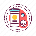addiction, bad, drugs, habit, narcotic, skull icon
