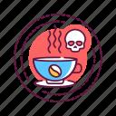 addiction, bad, coffee, habit, skull icon