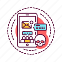addiction, bad, gadget, habit, skull icon