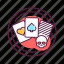 addiction, bad, gambling, habit, skull icon