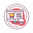 addiction, bad, computer, habit, shopping, skull icon