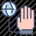 addiction, globe, hand, handcuff, internet icon