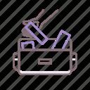 bag, briefcase, gum, kleptomania icon