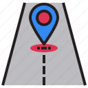 arrows, gps, navigation, position, road, sign, transportation icon