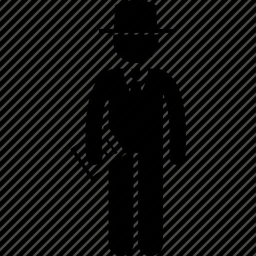 attire, business wear, businessman, document, suit, tie, top hat icon