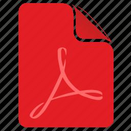 acrobat, adobe, file, pdf, red icon