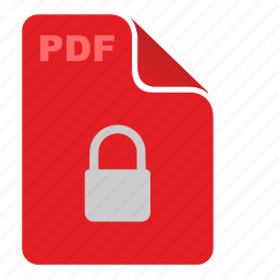 document, file, lock, pdf, red, security icon