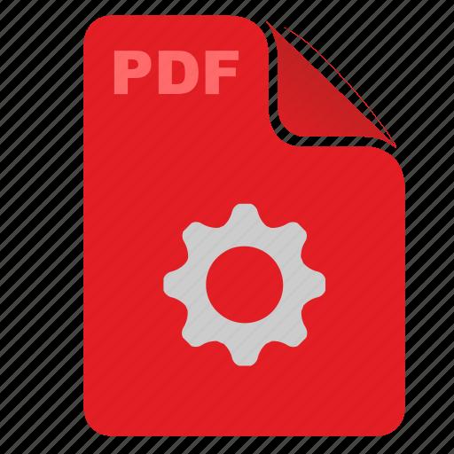 acrobat, api, document, file, pdf, red, settings icon