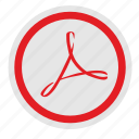 acrobat, adobe, api, red, round, sign icon