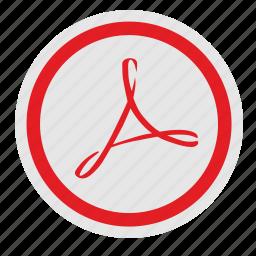 acrobat, adobe, api, red, round, sign icon