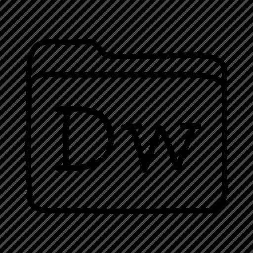 adobe dreamweaver, application, dreamweaver, files, folder, folders, format icon