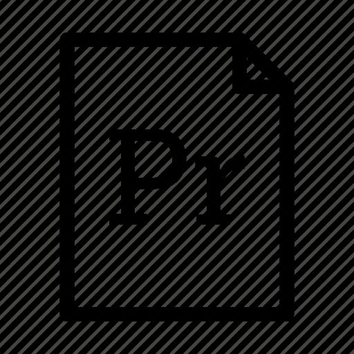 adobe, adobe premier pro, application, download, file, files, format icon