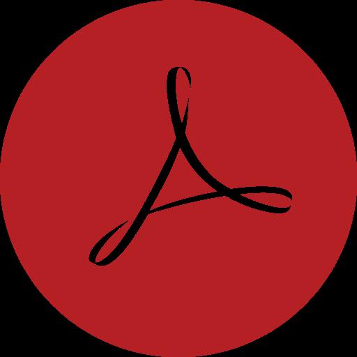 acrobat, adobe, round icon