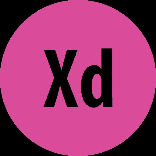 adobe, round, xd icon
