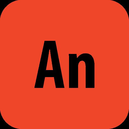 adobe, animate, rounded icon