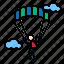 air, arachute, landing, parachutist, paragliding icon