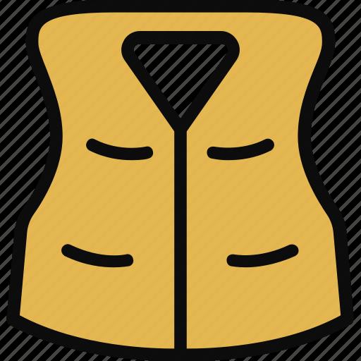 adventure, jacket, safe, stripe, vest icon